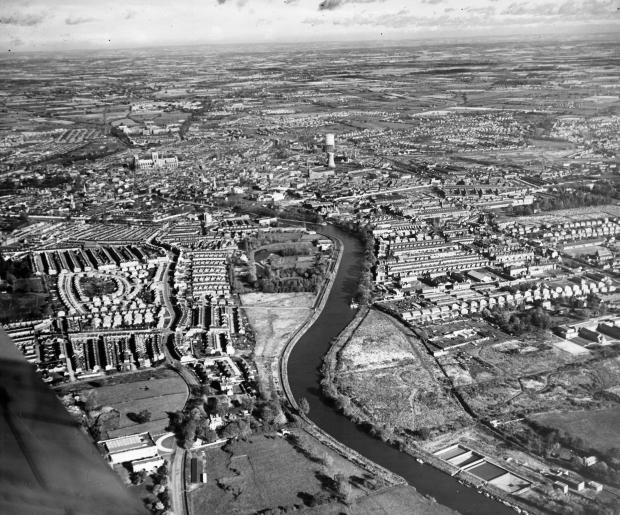 York Press: York from the air: showing Bishopthorpe Road, the River Ouse and Fulford Road
