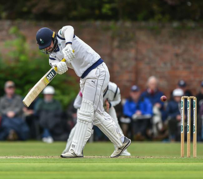 BOUNDARY: Yorkshire's Will Fraine hits a four on day one of the County Championship match against Warwickshire at Clifton Park. Picture: Ray Spencer