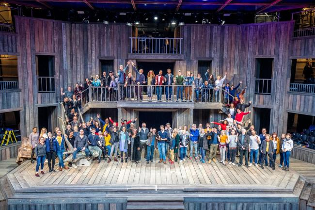 ALL ABOARD: Cast and crew for Shakespeare's Rose Theatre assemble on the pop-up stage in York. Picture: Charlotte Graham