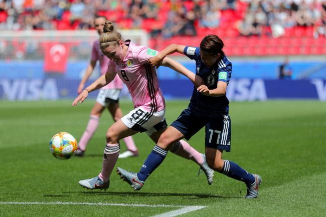 Kim Little, left, opened the scoring for Scotland against Group D rivals Argentina