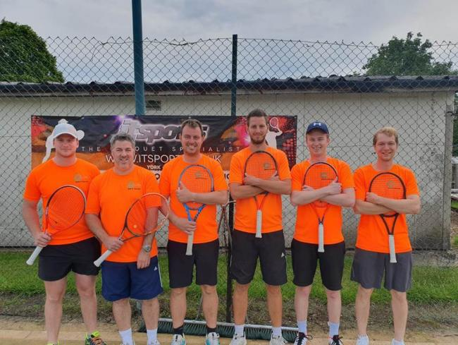 ON TOP: The Wigginton 1 team who are currently leading the way in the Tyke Men's Tennis League. From left to right: Ollie Hicks, Phil Langley, James Denmark, Ben Walker, James Shaw, Nils Morosz
