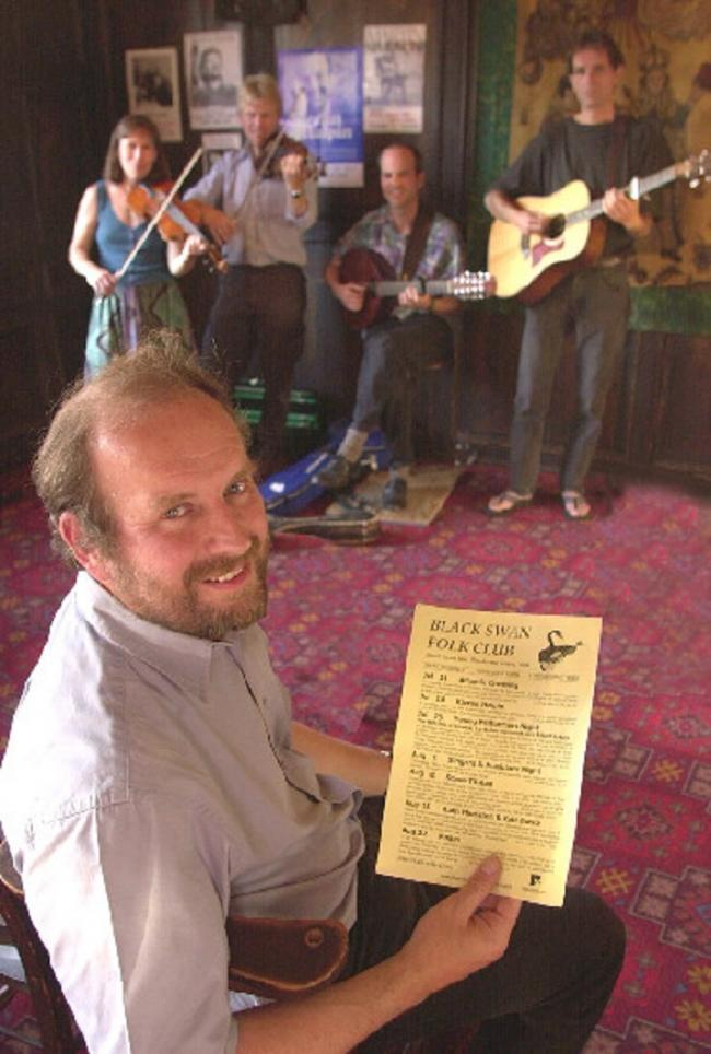 FAREWELL: Roland Walls, pictured at the Black Swan Folk Club in 2002 with the group Atlantic Crossing