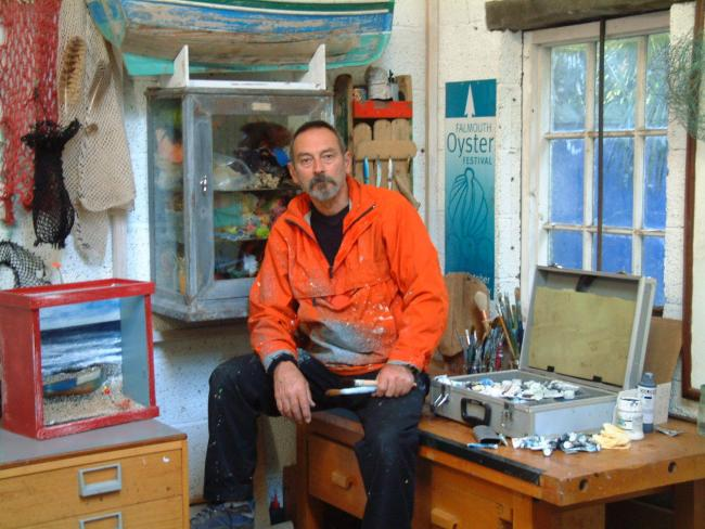 BESIDE THE SEA: Even in his garden studio, John Thornton is surrounded by seaside objects