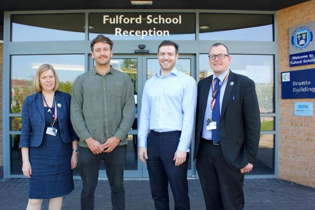 Fulford School headteacher Lorna Savage with Russell and Jason Paver and Dan Bodey, deputy headteacher