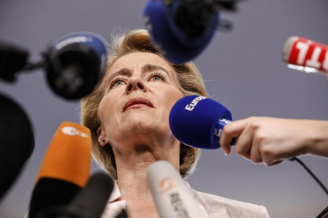 QUESTIONS: Germany's Ursula von der Leyen, who has been nominated by EU leaders as the next President of the EU Commission, speaks to reporters at the European Parliament in Strasbourg. Picture: AP Photo/Jean-Francois Badias