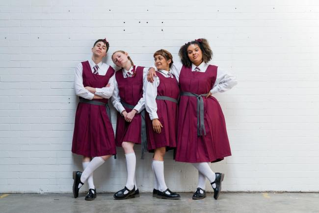 SCHOOL DAYS: Vinnie Heaven, Rose Shalloo, Mirabella Gremaud and Renee Lamb in Wise Children's Malory Towers. Picture: Steve Tanner