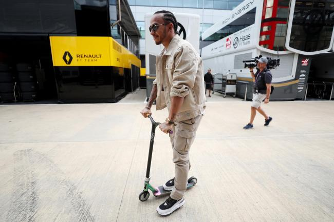 Lewis Hamilton took a different form of transport when he arrived at Silverstone
