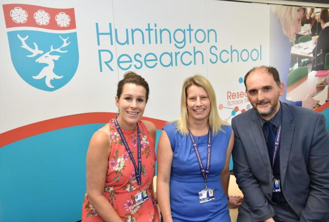 EXPANSION: Julie Watson assistant director, Jane Elsworth director and Stephen Foreman research lead at Huntington Research School Picture: Frank Dwyer