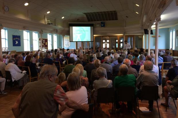 The packed public meeting which discussed flood defence plans for Clamenthorpe