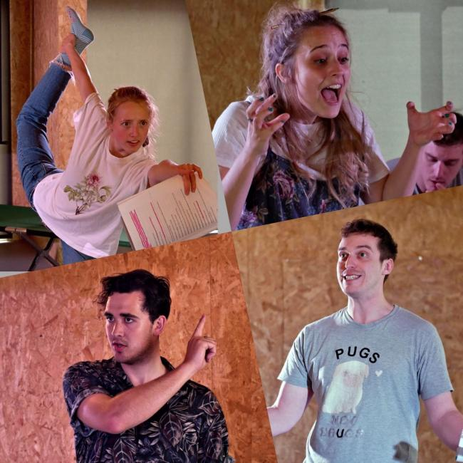 COSMIC: The Cosmic Collective in rehearsal at SparkYork for Heaven's Gate: clockwise from top right, Anna Soden, Joe Feeney, Lewes Roberts, and Kate Cresswell