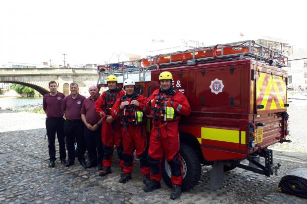 Staff from North Yorkshire fire service at Queen's Staith