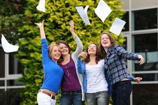 Students from Lady Lumley's School in Pickering celebrate their A level exam results.
