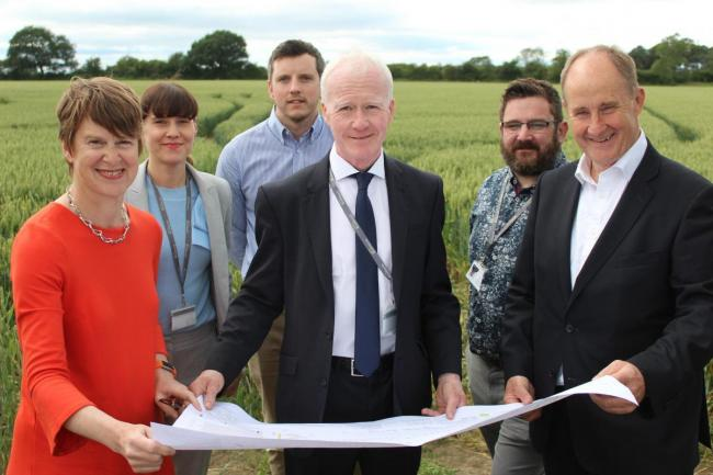 PLAN: Thirsk MP Kevin Hollinrake looks at the plans with, from left to right, Gail Teasdale, Broadacres chief executive, Joy Whinnerah, Broadacres executive director Development and investment, Tom Barker, quantity surveyor Moody Construct