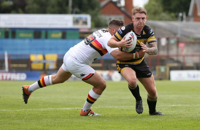 York City Knights' Liam Harris is against Bradford Bulls. Picture: Gordon Clayton