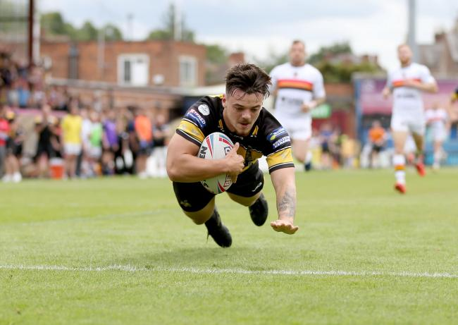 Will Oakes dives over for a try against Bradford Bulls earlier this season. Picture: Gordon Clayton