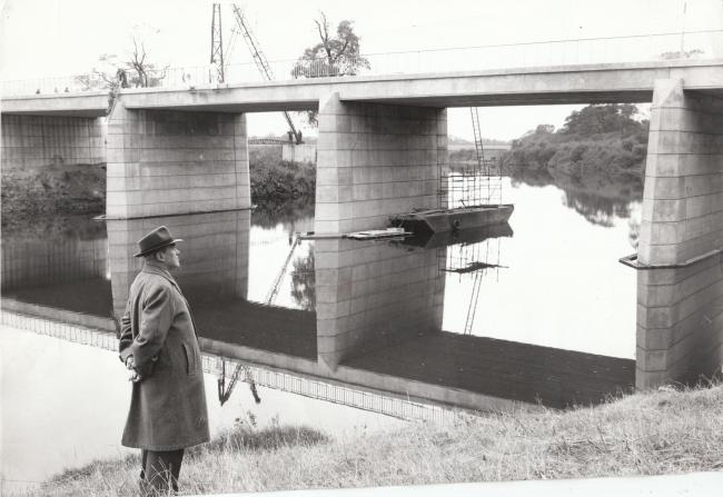October 1963 Mr C J Minter, former York City Engineer, looks at the bridge he helped to build. Members of his department and his successor, Mr R S Bellhouse, were associated with the Clifton project from its early stages. 
