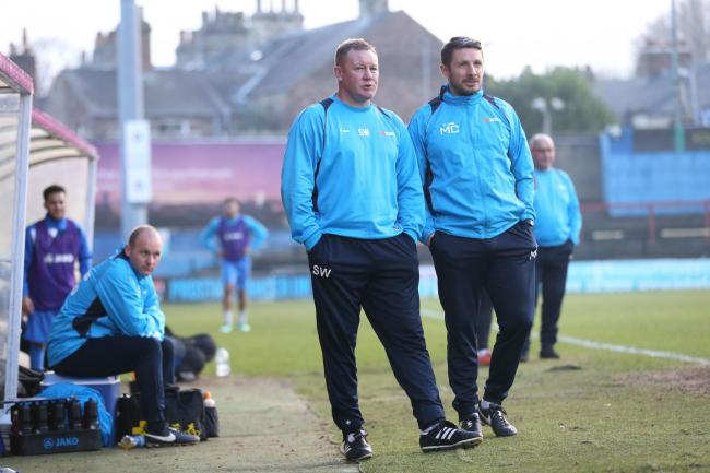 York City manager Steve Watson and assistant Micky Cummins. Picture: Gordon Clayton