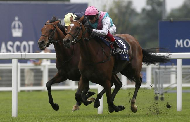 Enable and Frankie Dettori, right, get the better of Anthony Van Dyck and Ryan Moore to win the King George VI and Queen Elizabeth QIPCO Stakes Race at Ascot on Saturday. Picture: Julian Herbert/PA Wire