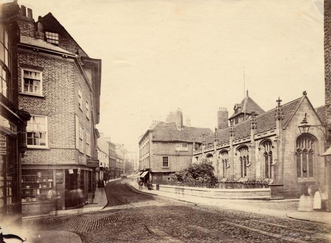 The junction of Micklegate, North Street and Skeldergate in the 1880s, when it was quite different to today. St John's Church dominates the right hand side.