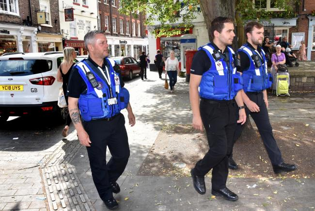 York Street Rangers Darren Erwin, Jack Milner and James Stephenson on patrol in York. Picture: Frank Dwyer