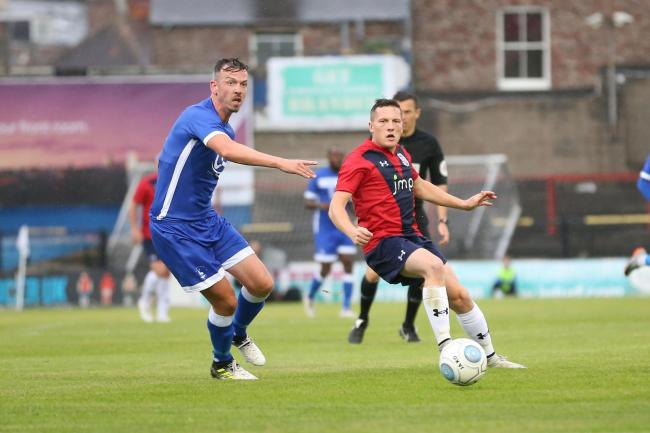 York City's Dan Maguire watches an effort go wide in the pre-season friendly against Hartlepool United at Bootham Crescent. Picture: Gordon Clayton