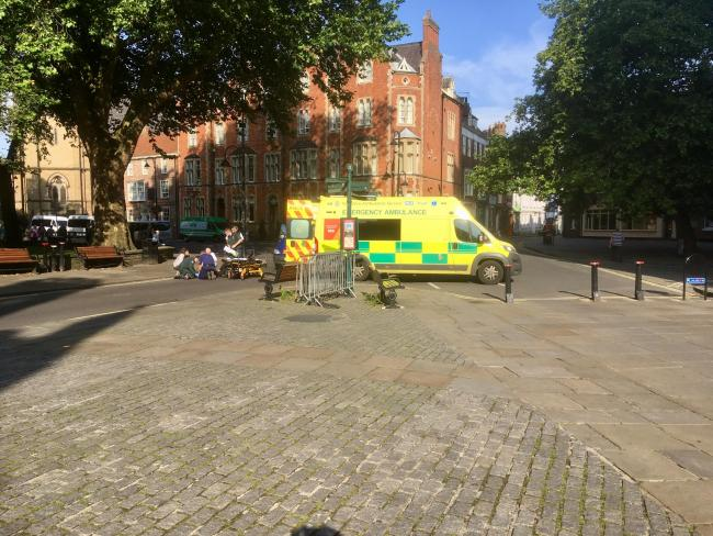 An ambulance at the scene on Duncombe Place in York this morning Picture: Haydn Lewis