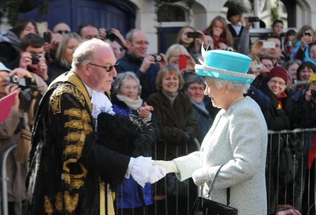 Former Lord Mayor David Horton greeting the Queen at Micklegate Bar on one of her visits to York. Picture: Frank Dwyer
