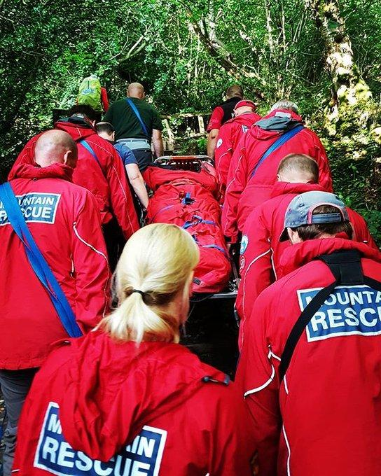 Scarborough and Ryedale Mountain Rescue help with a rescue at Mallyan Spout yesterday    Picture: Jon Bateman/SRMRT