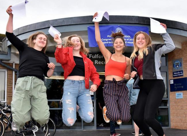 A-level results students celebrating at Fulford School last year are Emma Turton, Anna Parker Iona Maart and Maya Ljubujevic Picture: Frank Dwyer