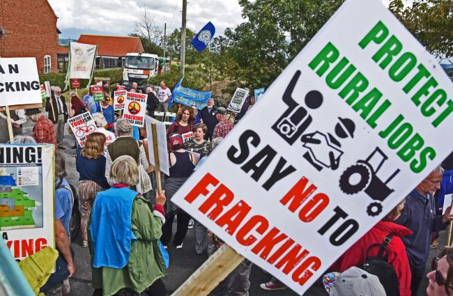 Anti-fracking campaigners during protests at Kirby Misperton Village Hall
