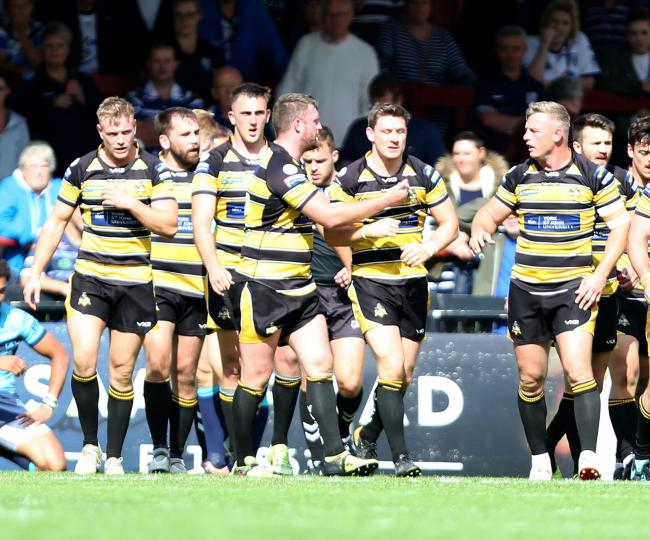 York City Knights celebrate a try by Kriss Brining in their Betfred Championship clash with Featherstone Rovers last month.Picture: Gordon Clayton