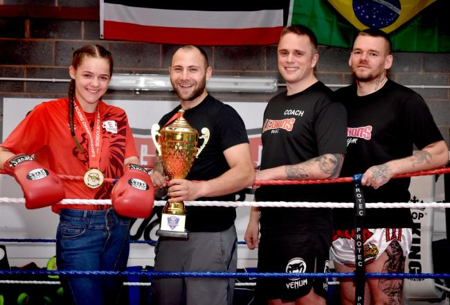 York boxer Paris Smith, who won a gold medal representing England in the Schoolgirls European Championships with her Legions gym coaches (l-r), Ashley Martin, Al Chambers and Dave Phillips. Picture: Frank Dwyer