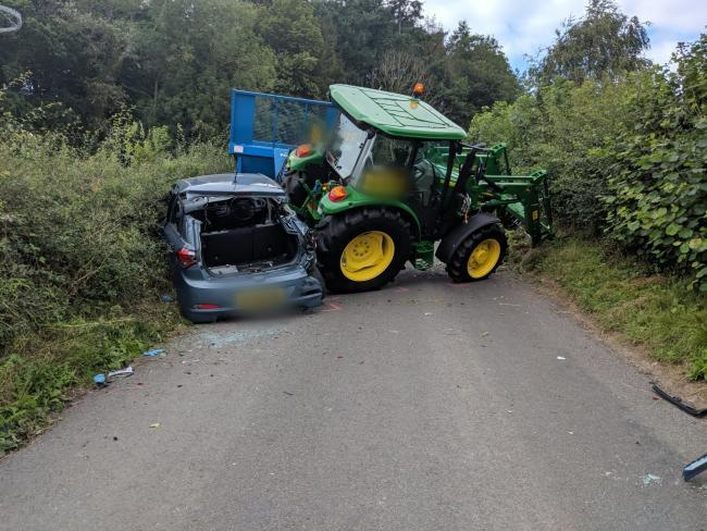 One taken to hospital after tractor and car crash in Grosmont  Picture: Mark Patterson @TC1881_NYP