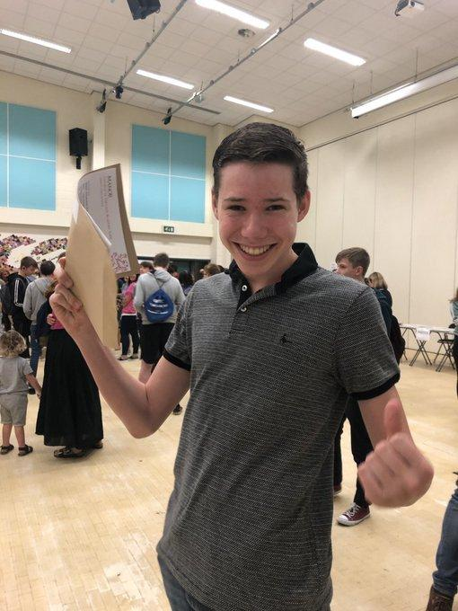 Manor CE Academy pupil Aiden Reilly celebrating getting 8 grade 9s on GCSE day