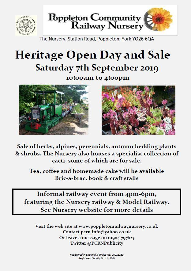 A poster for the heritage open day and sale