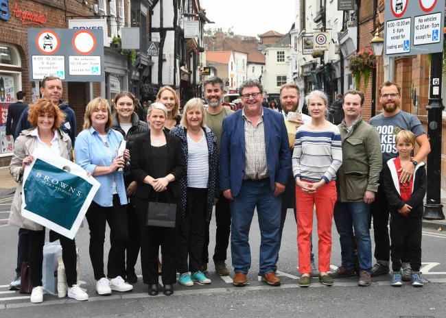 Johny Hayes, centre, with traders in Goodramgate. Picture by David Harrison.