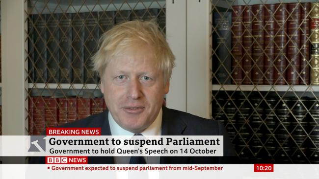 Prime Minister Boris Johnson announcing that he will seek an extended suspension of Parliament. Picture: BBC News/PA Wire