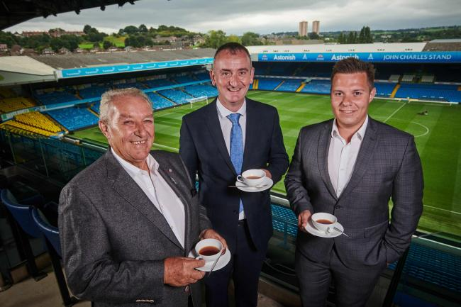 From left, at Leeds United Football Club, Elland Road, Upton Group chairman, Alec Upton; LUFC general manager, Rob Smyth and Upton Group business development manager, Sam Britton