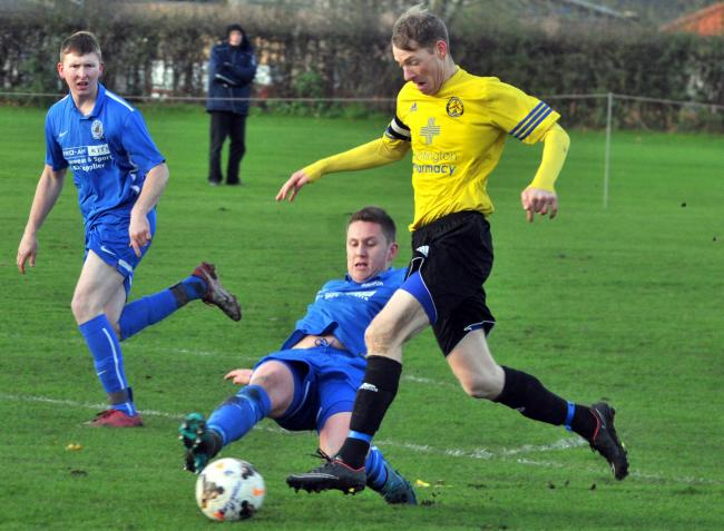 Huntington Rovers striker Chris Dyson, who netted a hat-trick