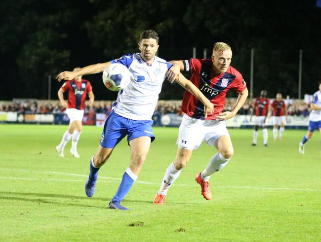 Jordan Burrow joined York City's injury list early on in last Tuesday's 0-0 draw at Guiseley. Picture: Gordon Clayton