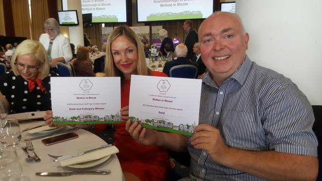 Malton town clerk Gail Cook and deputy clerk Tim Hicks with the winning certificates