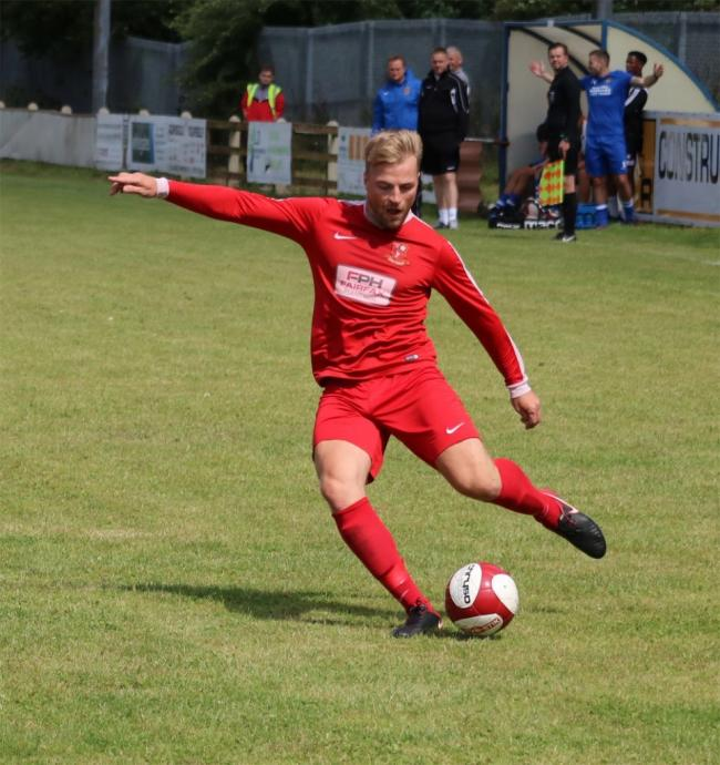 Chris Jackson, here playing for Selby Town, scored a brace in Hounds' 5-3 loss at Bishopthorpe. Picture: Selby Town FC