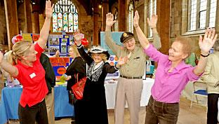 Sue Lister, right, taking part in an event in York's Guildhall as part of the 2009 50+ Festival