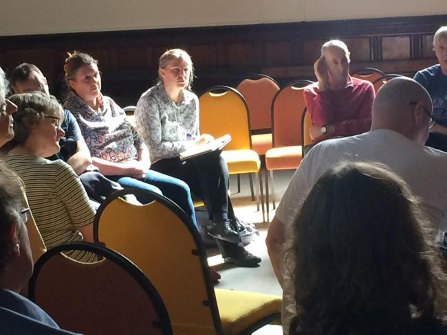 Rachael Maskell MP (centre) during the People's Parliament at the Friends Meeting House, Friargate