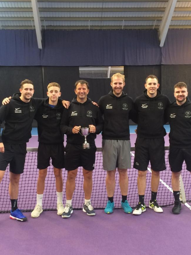 David Lloyd York 1 are pictured with the trophy after winning division one of the Tyke Men's Tennis League. Pictured are, from left, Freddie Booth, Jack Batchelor, captain Ed Barker-Wyatt, Dale Fawcett, Adam Harvey and Jan Dyl