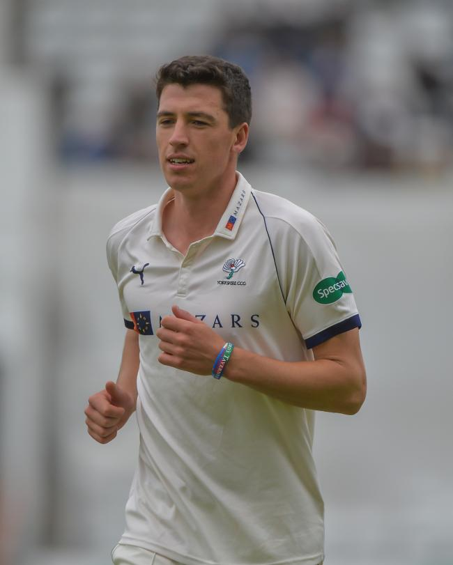 Matthew Fisher held up Kent and Darren Stevens briefly this morning, but it was to no avail as Yorkshire suffered a record-breaking 433 run defeat in Division One of the Specsavers County Championship Picture: Ray Spencer
