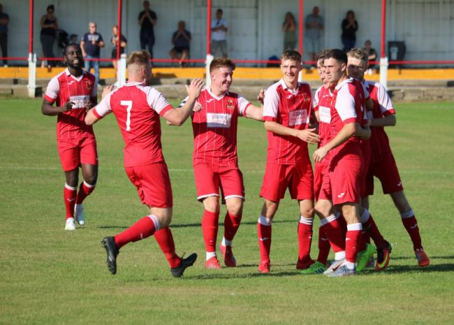 Selby Town celebrate scoring in a 4-1 win over Hall Road Rangers. Picture: Selby Town FC