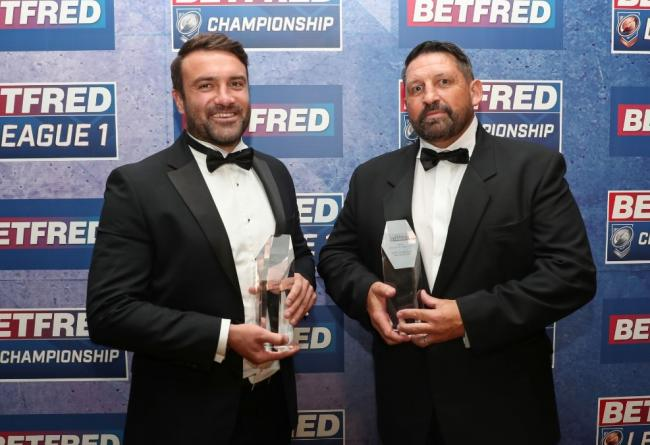 York City Knights coach James Ford (left) poses with his Championship Coach of the Year award alongside League 1 Coach of the Year Gary Charlton of Whitehaven.