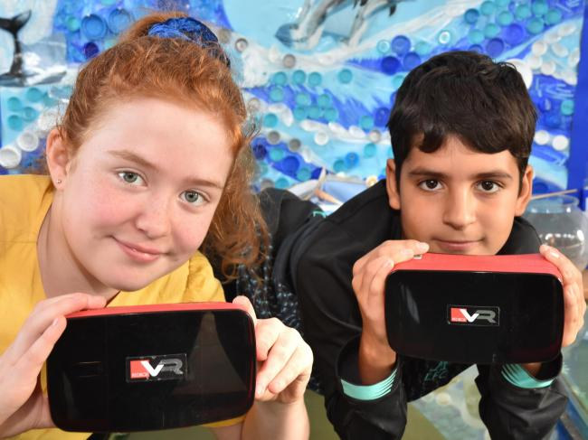 Nellie and Dariush Year 6 pupils at Park Grove School who have written about their experience using VR headsets  Picture Frank Dwyer