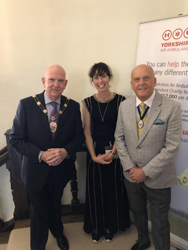 Mayor of Malton Paul Emberley, Pop-up of the North organiser Georgie Pridden and Cllr Graham Lake at the event